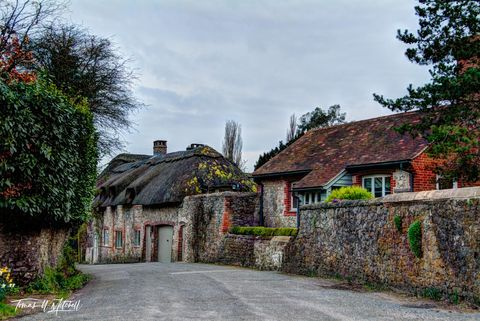 limited edition, museum grade, fine art, prints, amberely, england, west sussex, gloomy, springtime, flowers, color, old village, beautiful, famous, thatched roofs, photograph, owl cottage, street