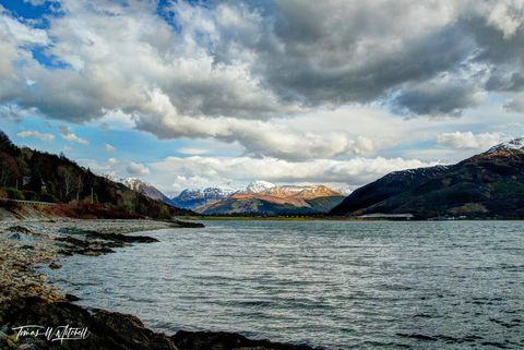 limited edition, fine art, prints, ballachulish, bridge, scotland, loch linnhe, onich, a82, photograph, snow, peaks, water, cloudy, sky, blue