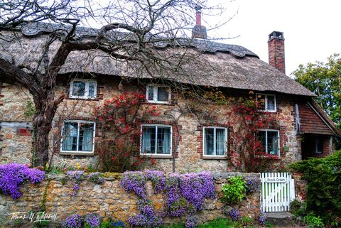 limited edition, museum grade, fine art prints, amberely, england, west sussex, village, famous, thatched roofs, spring, tourists, gate, stone wall, spring flowers, blooming, gloomy, color, photograph
