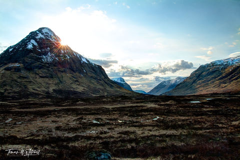 limited edition, museum grade, fine art, prints, buachaille etive mor, scotland, glen etive, highlands, a82, glen coe, photograph, evening, snow capped, mountains, water, moorland, clouds, blue sky, s