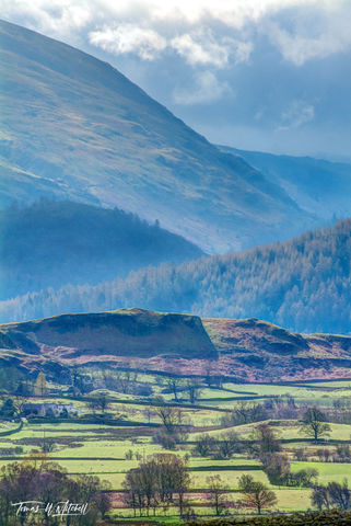 limited edition, museum grade, fine art, prints, photograph, keswick, cumbria, lake district, england, mountains, layers, fields, rock walls, hills, sky, green, springtime, english, trees, valleys