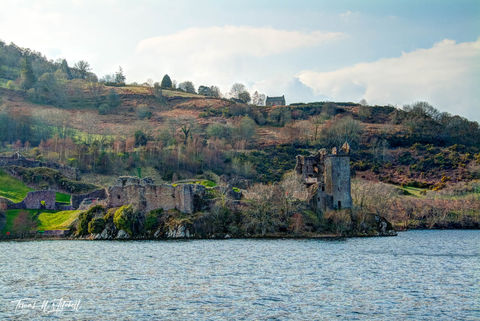 limited edition, museum grade, fine art, prints, urquhart castle, scotland, loch ness, mountains, trees, clouds, castle, sun, grass, spring, light, blue, water, cloudy, sky, dream