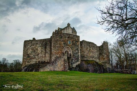 limited edition, museum grade, fine art, prints, dunstaffnage, castle, scotland, 13th century, macdougall, clan campbell, gaelic, norse, oban, loch etive, green, grass, spring, stark, trees, cloudy