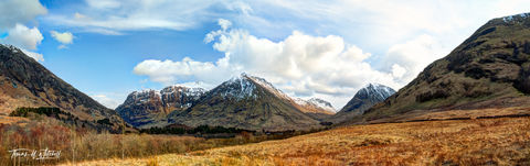 limited edition, museum grade, fine art, prints, glen coe, scotland, epson, pano awards, clouds, blue sky, snow capped, mountains, golden, photograph