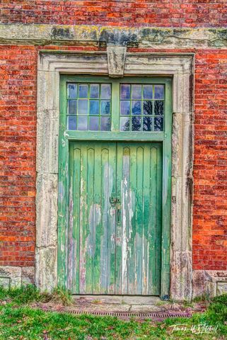 limited edition, museum grade, fine art, prints, photograph, door, old, village, peeling, green, red, brick, england, derbyshire Hardwick hall