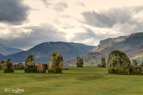 castlerigg, stone circle, cumbria, england, limited edition, museum grade, fine art, prints, mysterious, field, lonely, countryside, stones, moss, lichens, green, grass, farmland, fence