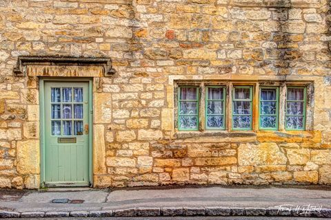limited edition, museum grade, fine art, prints, photographing, Cotswolds, England, doors, windows, yellow, limestone, rocks, sunny, cloudy, sage green, white, curtains
