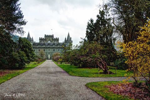 limited edition, museum grade, fine art, prints, inveraray castle, scotland, duke of argyll, clan campbell, castle, gothic, mood, photograph, long lane, grass, trees