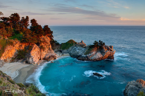 limited edition, fine art, prints, McWay Falls, Big Sur, California, Julia Pfeiffer Burns State Park, Monterey, cove, photograph, waterfall, waves, beach, sunset, water