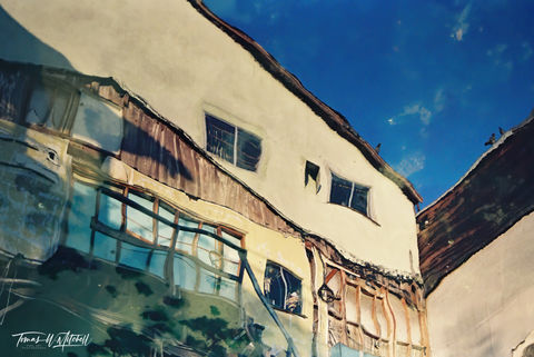 limited edition, fine art, prints, photograph, film, abstract, reflection, old building, old fisherman's wharf, monterey, california, water, sky