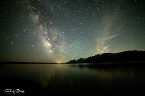 limited edition, fine art prints, grand teton national park, wyoming, jackson lake, milky way, photograph, night, jackson hole, mountains, reflection, night, sky