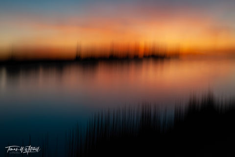 limited edition, fine art, prints, seedskadee national wildlife refuge, wyoming, green river, summer, sunset, cattails, abstract, icm, reflection, photograph