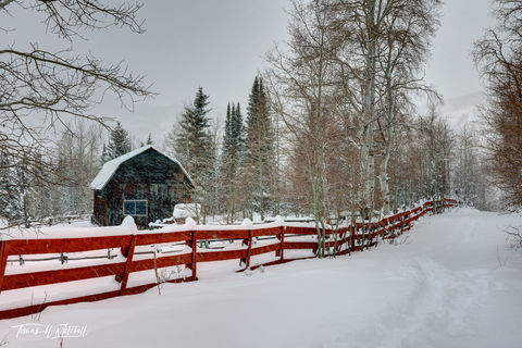 limited edition, fine art, prints, oakley utah, barn, storm, photograph, snow storm, red fence, barn,