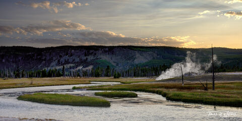 limited edition, fine art prints, yellowstone national park, photographing, firehole canyon, craig pass, old faithful, biscuit basin, sapphire pool, sunset, river, panoramic