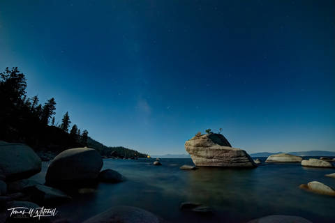 limited edition, fine art, prints, bonsai rock, lake tahoe, nevada, boulders, photograph, moonlight, moon, milky way