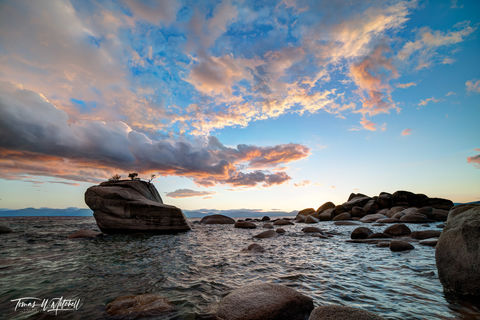 limited edition, fine art, prints, bonsai rock, lake tahoe, nevada, shoreline, boulders, sunset, photograph, clouds, blue sky, waves