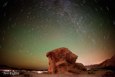 limited edition, fine art, prints, valley of fire, las vegas, nevada, stars, photograph, photographing, arch rock, star trail, north star, rock, glow, celestial