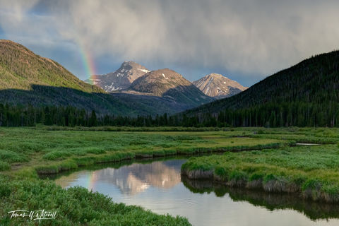 limited edition, fine art, prints, uinta wasatch cache nationla forest, utah, summer storm, rainbow, river, photograph, evening, mountains, clouds, sunset, reflection