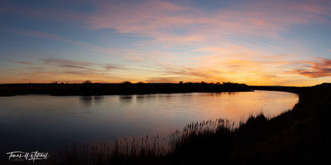 limited edition, fine art, prints, summer, sunset, green river, wyoming, color, photograph, sky, cattails, panoramic