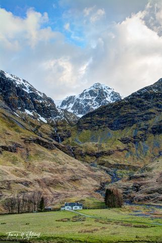 limited edition, museum grade, fine art, prints, glencoe, scotland, achnambeithach cottage, dream home, cottage, snow capped mountains, clouds, blue sky, waterfall, stream, green, grass, photograph