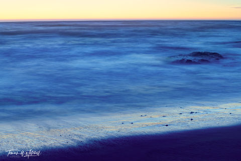 limited edition, fine art, prints, abstract, pacific grove, california, indigo, sea, ocean, blues, yellow, sunset, waves, sand, beach