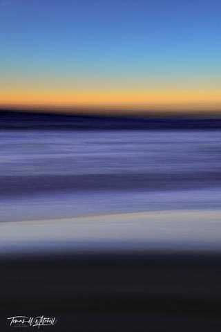 limited edition, fine art, prints, moody blues, photograph, pacific grove, california, sunset, abstract, ICM, photography, yellow, blue, ocean, monterey peninsula