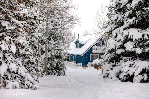 limited edition, fine art, prints, oakley utah, snowed inn, cottage, cabin, photograph, snow, blue, skis, snowflakes, storm, winter, trees,