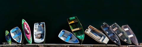 limited edition, fine art, prints, photograph, dinghies, monterey california, little boats, sea, color, panoramic