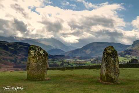limited edition, museum grade, fine art, prints, photograph, castlerigg, stone circle, england, cumbria, ancient, stones, fence, rock wall, farmland, mountains, spiritual, green, grass, spring, moss,
