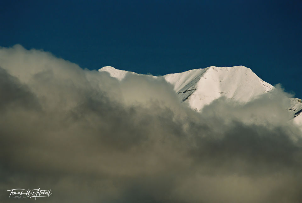 limited edition, fine art, prints, mount timpanogos, timp, utah, peak, clouds, blue sky, mountain, photograph, winter, film, snow