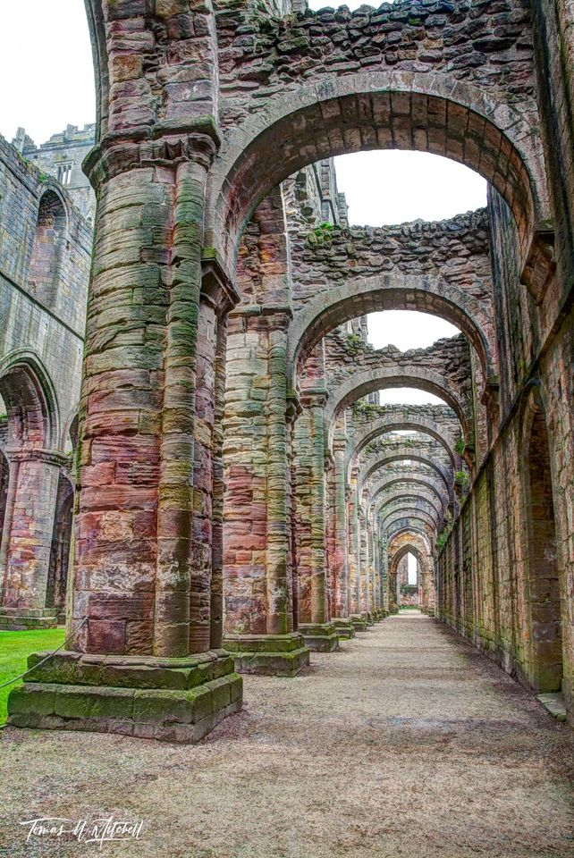 limited edition, museum grade, fine art, prints, photograph, arches, fountains abbey, england, old abbey, rock work, cistercian, monasteries, henry VIII