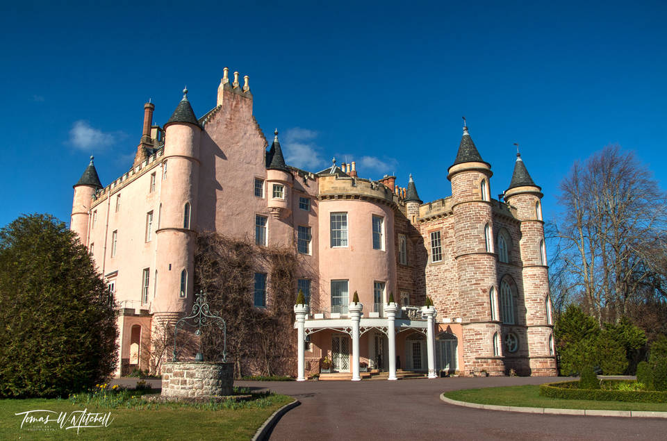 limited edition, museum grade, fine art, prints, balnagown castle, scotland, clan ross, mohamed al-fayed, diana princes of wales, castle, cottages, photograph, blue sky, pink castle, green, grass