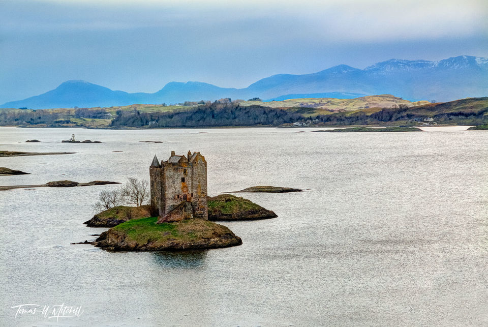 limited edition, museum grade, fine art, prints, castle stalker, scotland, castles, monty python, holy grail, castle aaaarrggg, oban, loch laich, soft light, photograph, layers, light, castle, green,