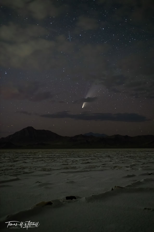 limited edition, fine art, prints, stars, night sky, clouds, comet neowise, bonneville salt flats, utah, desert,  mountains, photograph, celestis