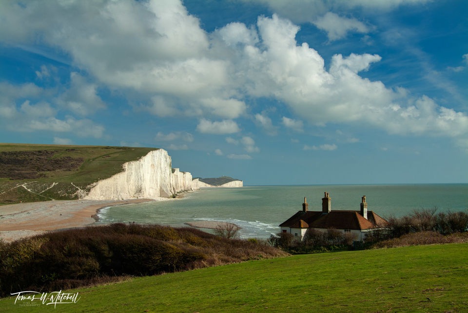 limited edition, museum grade, fine art, prints, coastguard, cottages, old, chuckmere haven, seven sister, england, seaford, east sussex, english channel, photograph, white cliffs, puffy clouds, ocean