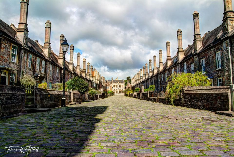 limited edition, museum grade, fine art, prints, vicars close, wells, england, cobble stone, street, 14th century, rock, row houses, chimneys, cloudy sky, chapel library, cathedral