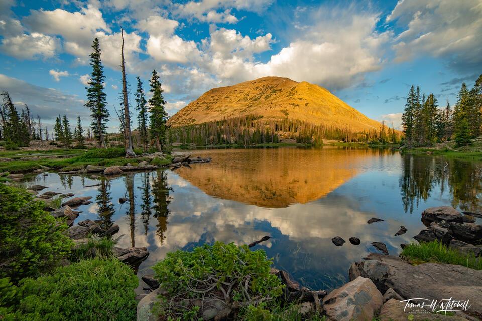 reflection of Mount Watson in Booker Lake, Uinta Mountains, Utah, photographs,