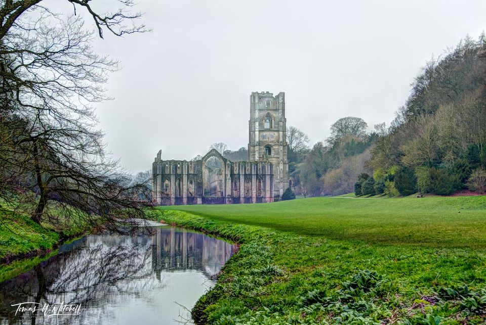 limited edition, museum grade, fine art, prints, fountains abbey, reflection, studley royal park, england, photographing, ruins, world heritage site, North Yorkshire, 18th century, landscape, garden,