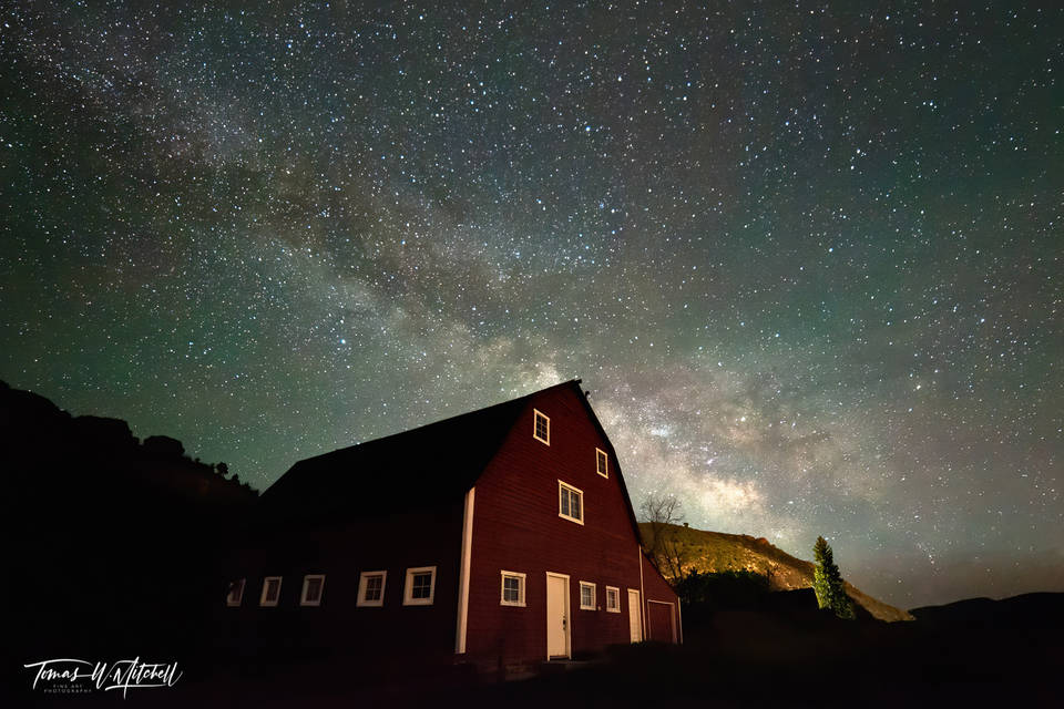 limited edition, fine art, prints, peoa utah, galactic barn, photograph, milky way, astronomy, summer, stars