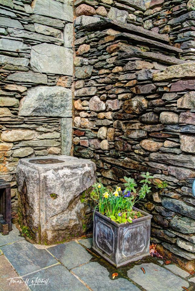 limited edition, museum grade, fine art, prints, photograph, grasmere, england, Lake district, village, flower, rock walls, buildings