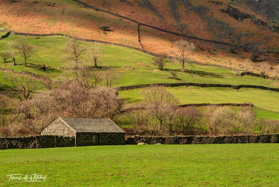 limited edition, museum grade, fine art, prints, wordsworth, grasmere, lake district, england, village, forest side hotel, lake, photograph, light, green, fields, grass, stone, rock, barn, walls