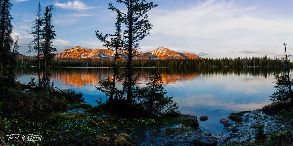 limited edition, fine art, prints, mirror lake, utah, uinta mountains, photograph, evening, reflection, panoramic, trees, bob ross, painting
