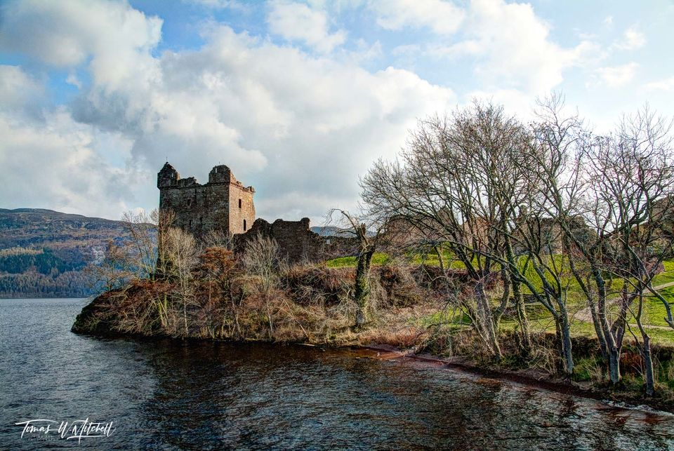 limited edition, museum grade, fine art, prints, loch ness, urquhart castle, jacabite cruise, ship, water, castle, tower, grant tower, trees, spring, cloudy sky, blue, sun, clouds, photograph