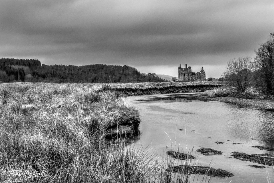 limited edition, museum grade, fine art, prints, kilchurn castle, scotland, loch awe, campbells, glenorchy, earls of breadalbane, castle, grass, water, gloomy,  black and white, tree
