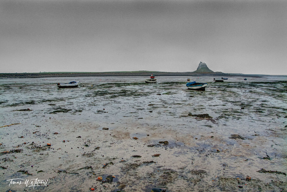 limited edition, museum grade, fine art, prints, low tide, lindisfarne, england, lindisfarne inn, island, town, coast, photograph, gray, gloomy, boats, castle, muted, colors, ripples, sand