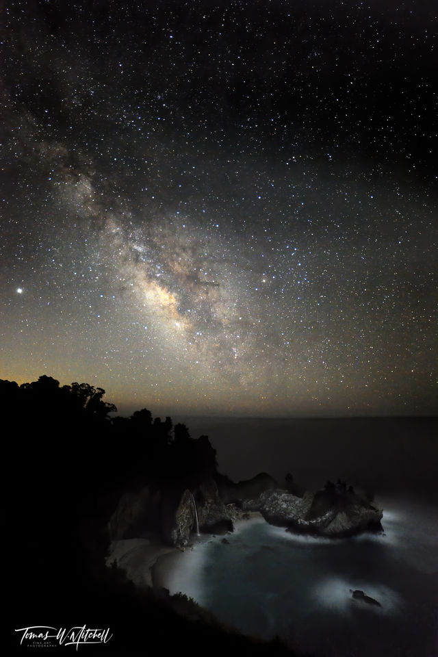 limited edition, fine art, prints, photograph, mcway falls, big sur, california, milky way, water falls , lagoon, summer, night, beaches, starlit, neverland