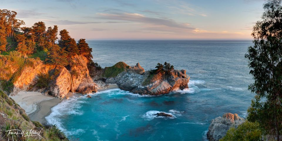 limited edition, fine art, prints, mcway falls, julia pfeiffer burns state park, california, waterfall, beach, waves, mermaid cove, photograph, panoramic, sunset,