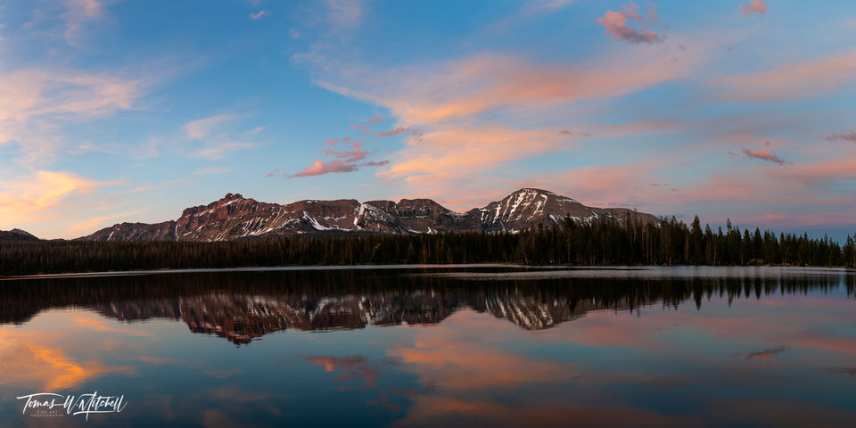 limited edition, fine art, prints, mirror lake, uinta mountains, utah, evening, sunset, blue sky, pink clouds, photograph, reflection