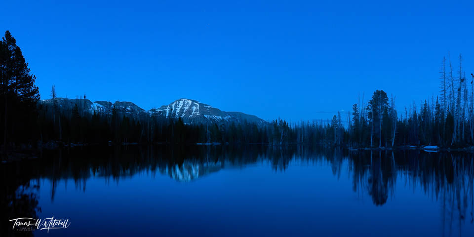 limited edition, fine art, prints, pass lake, utah, uinta mountains, blue hour, moody, lake, mountain, photograph, forest, trees, mount agassiz, snow