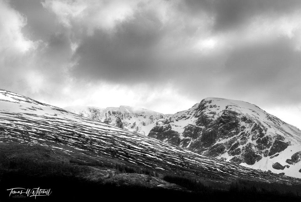limited edition, museum grade, fine art, prints, ben nevis, scotland, grampian mountains, mountain, photograph, black and white, clouds, sun, scottish, snow